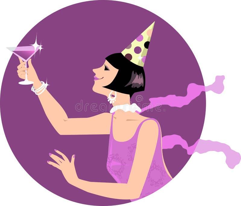 Menina do Flapper com um cocktail ilustração do vetor