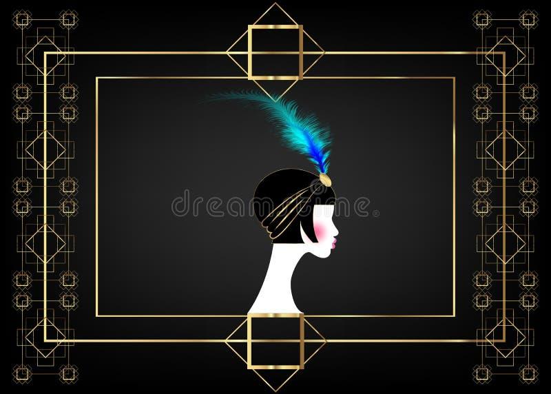 Menina do Flapper, mulher retro dos anos 20 Projeto retro com um estilo bonito dos anos 20 do retrato, silhueta do convite do par ilustração royalty free