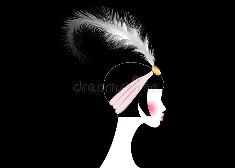 Menina do Flapper, mulher retro dos anos 20 Projeto retro com um estilo bonito dos anos 20 do retrato, silhueta do convite do par ilustração do vetor