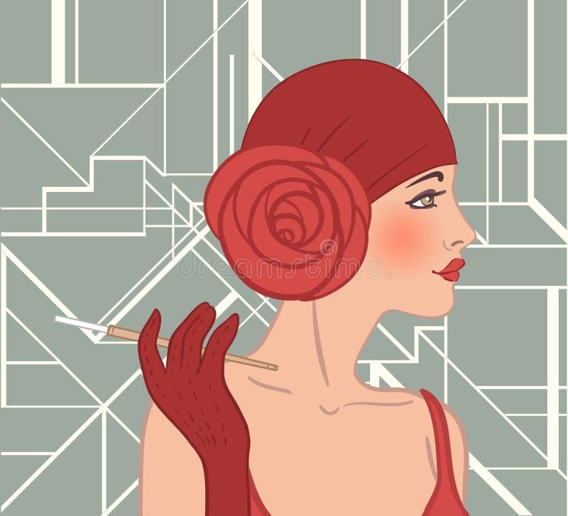 Menina do Flapper: Projeto retro do convite do partido ilustração stock