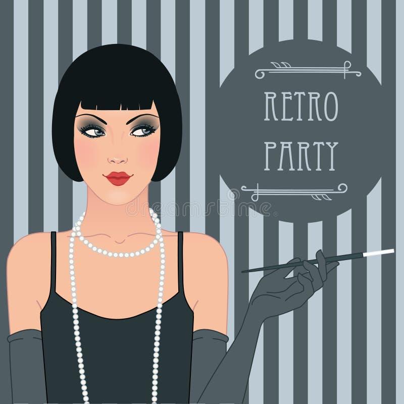 Menina do Flapper: Projeto retro do convite do partido ilustração royalty free