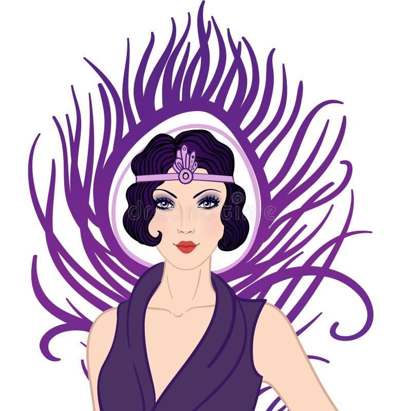 Menina do Flapper: Projeto retro do convite do partido ilustração do vetor