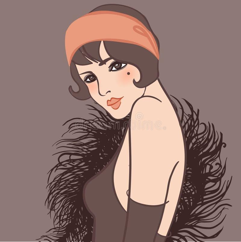 Menina do Flapper: Projeto retro do convite do partido, arte ilustração stock