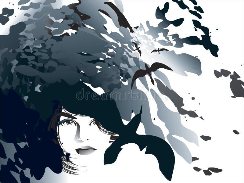 Menina do fluxo da mente ilustração stock