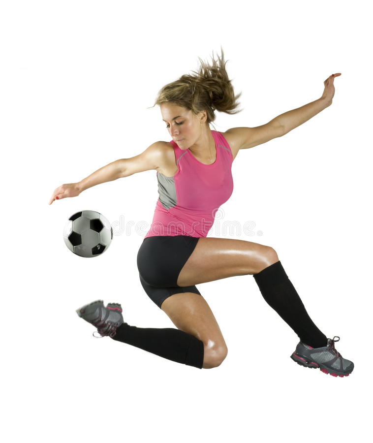 Menina do futebol fotos de stock