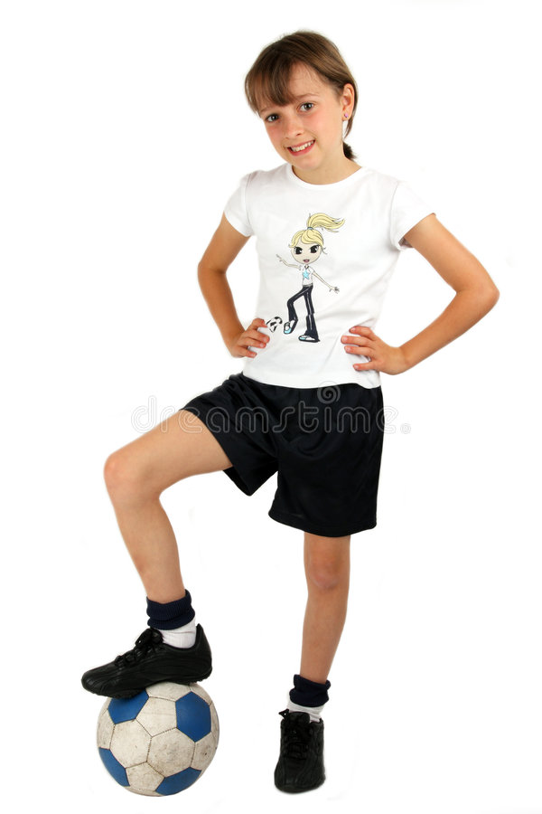 Menina do futebol fotografia de stock
