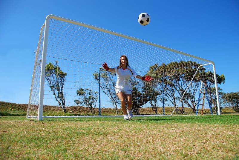 Menina do futebol fotografia de stock royalty free