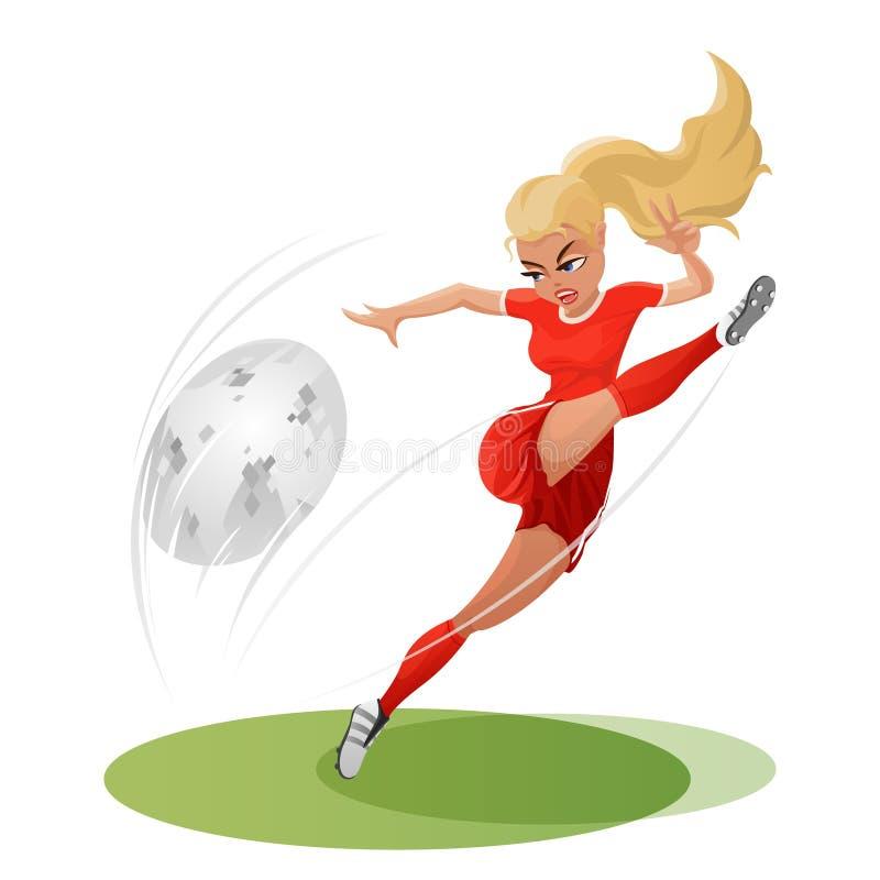 Menina do futebol que bate a bola duramente Llustration do vetor imagem de stock