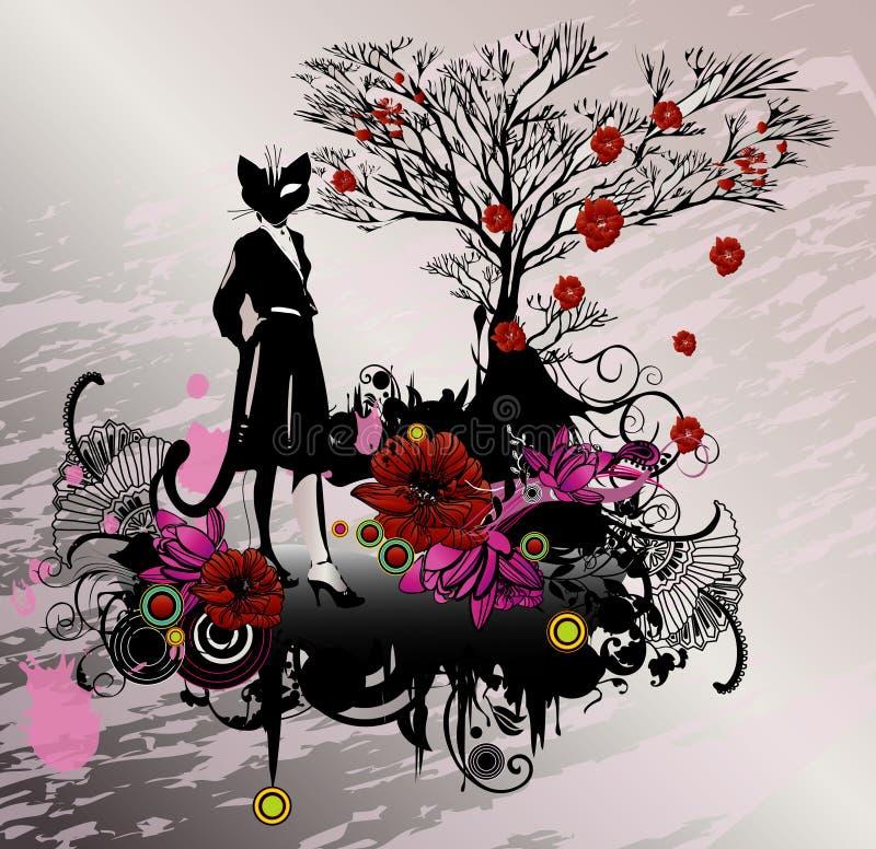 Menina do gato ilustração do vetor