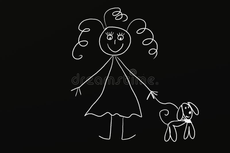 Menina do giz com cão ilustração do vetor