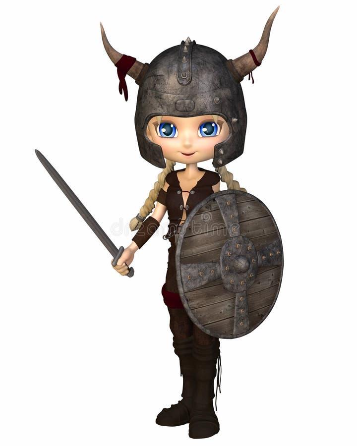 Menina do guerreiro de Toon Viking ilustração stock
