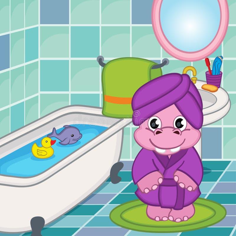 Menina do hipopótamo no banheiro ilustração royalty free