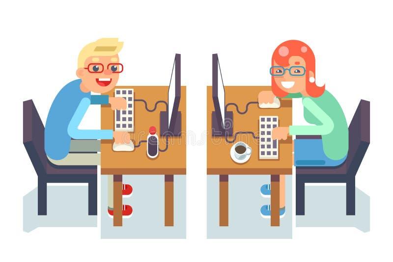 A menina do indivíduo da cadeira de tabela do gamer do programador do monitor do PC isolou a ilustração lisa do vetor do caráter  ilustração do vetor