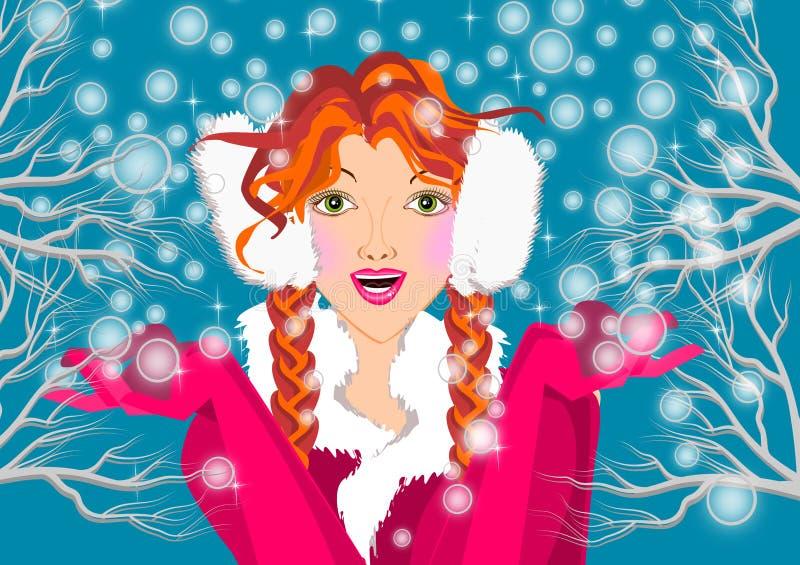 Menina do inverno ilustração stock