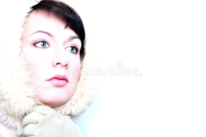 Menina do inverno - olhar do gelo foto de stock
