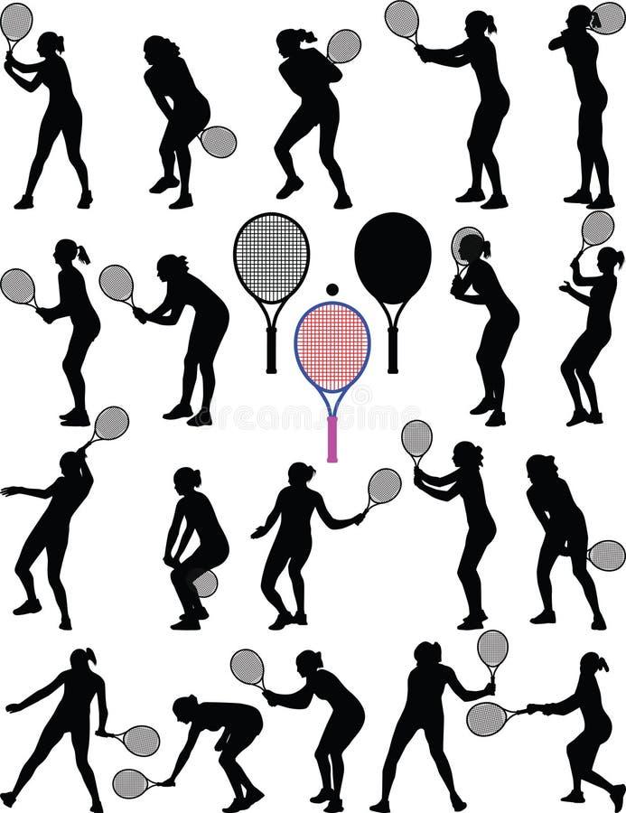 Menina do jogador de tênis ilustração do vetor