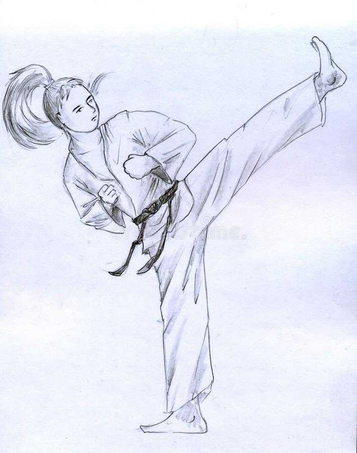 Menina do karaté ilustração royalty free