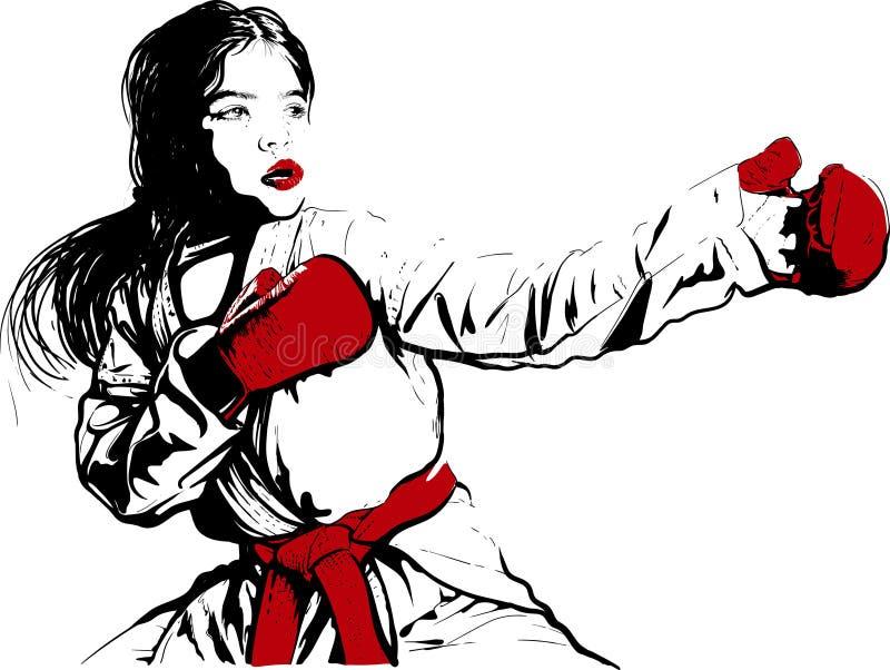 Menina do karaté antes da luta ilustração do vetor
