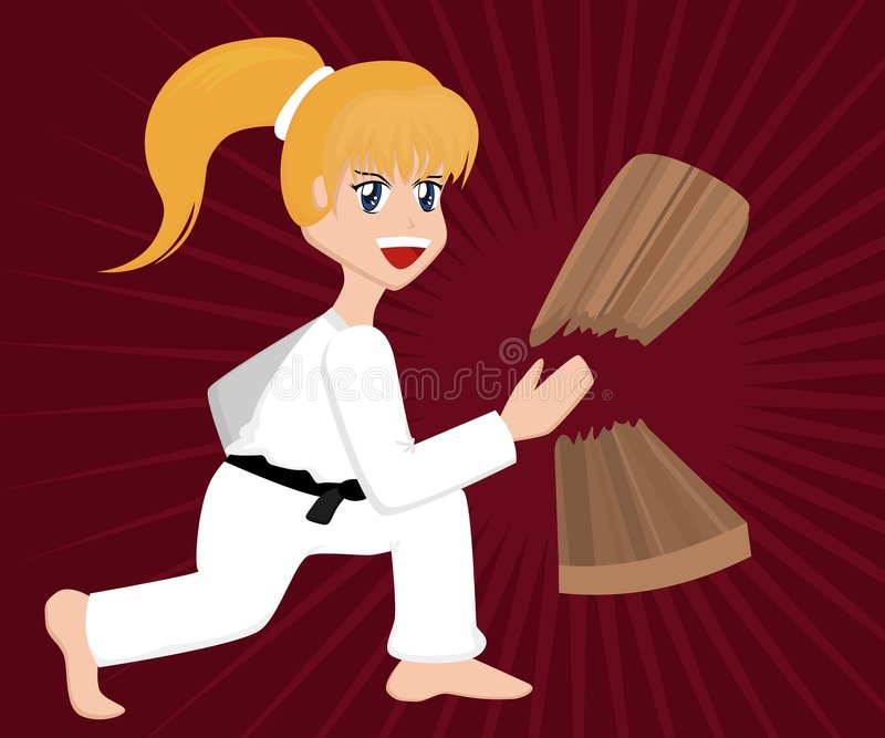 Menina do karaté dos desenhos animados ilustração royalty free