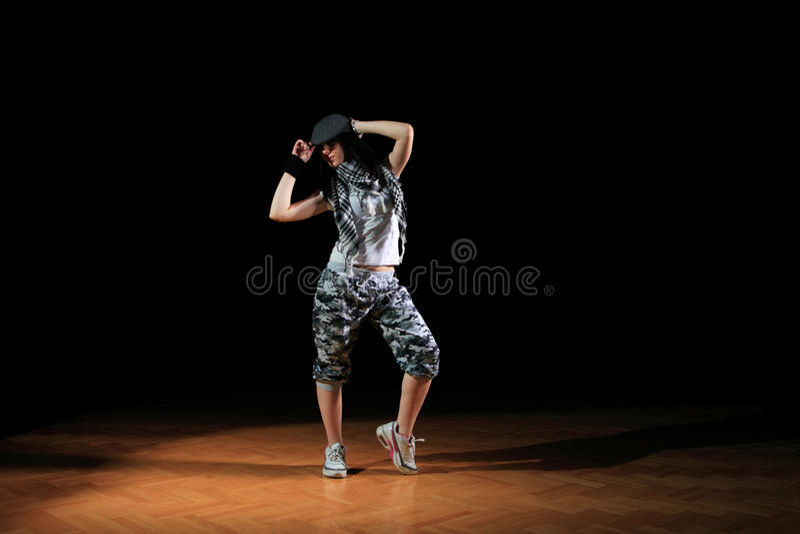 Menina do lúpulo do quadril na dança imagem de stock royalty free