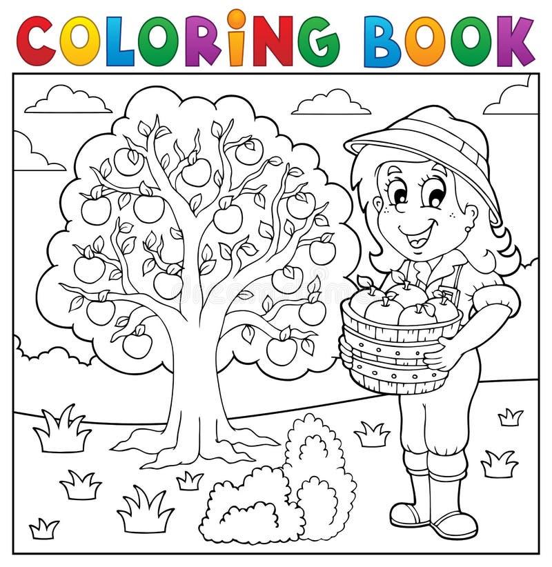 Menina do livro para colorir com maçãs recolhidas ilustração stock