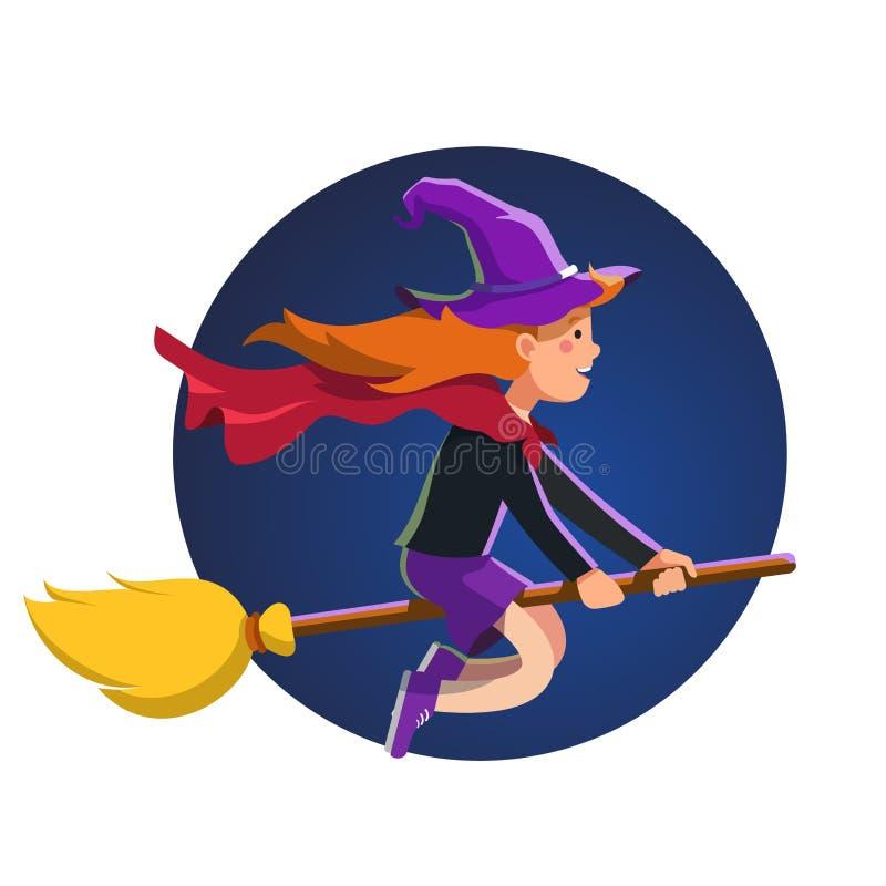 Menina do mágico que voa rapidamente na noite na vara da vassoura ilustração royalty free