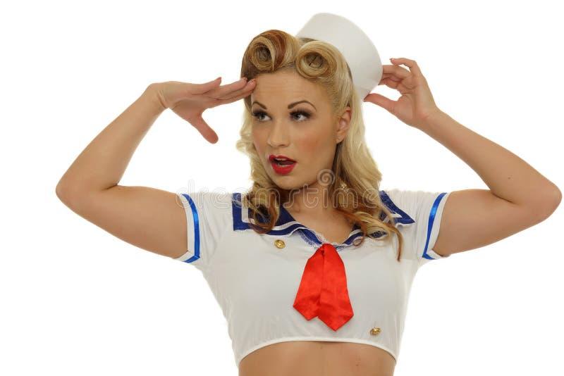 Menina do marinheiro do Pinup foto de stock royalty free