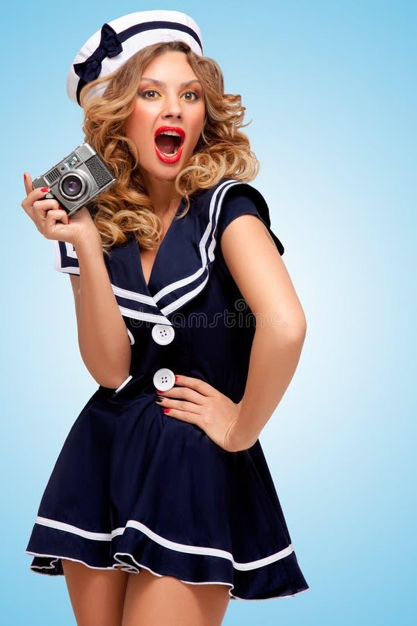 Menina do marinheiro do vintage fotos de stock