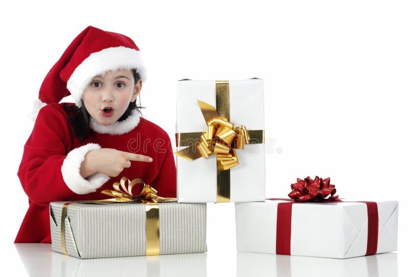 Menina do X-mas com presentes imagens de stock royalty free