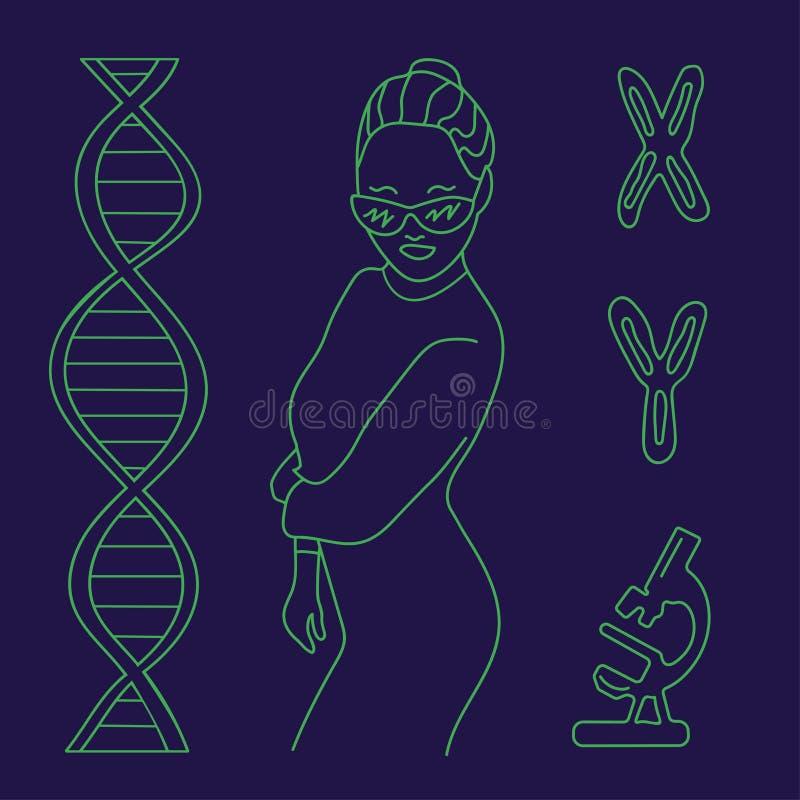Menina do moderno - cientista com ADN, cromossomas e microscópio Ilustração do vetor ilustração royalty free