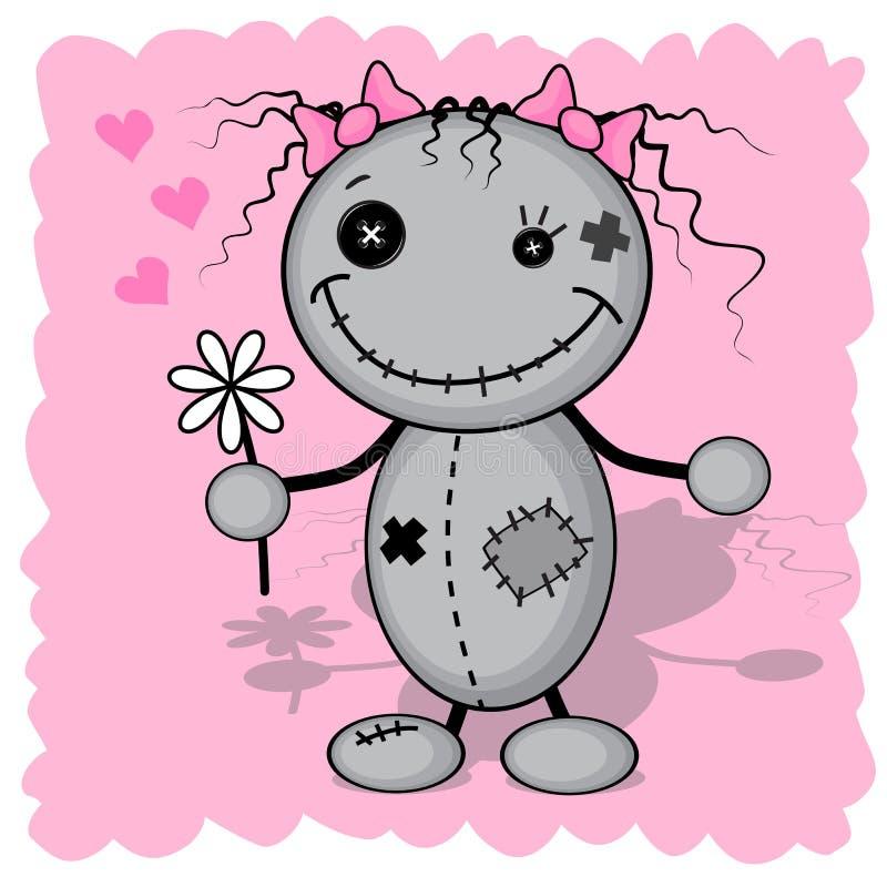 Menina do monstro com uma flor ilustração royalty free