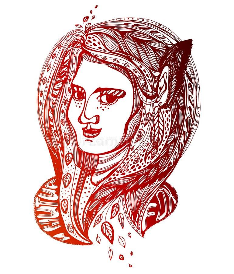 Menina do monstro Mulher m?gica do duende novo com orelhas longas e o cabelo de duas cores do plit fundidos pelo vento A alquimia ilustração royalty free