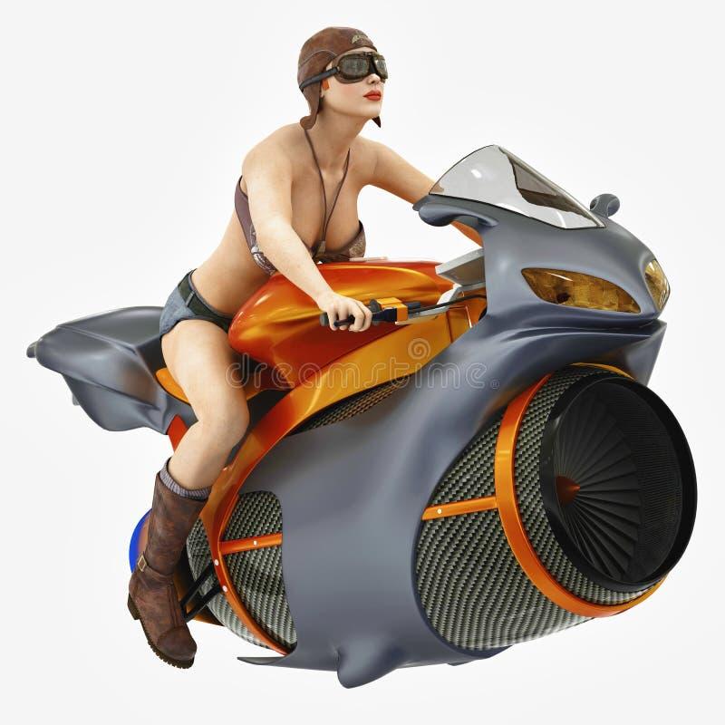 Menina do motociclista em uma bicicleta futurista ilustração stock