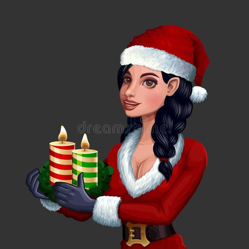 Menina do Natal com velas ilustração do vetor