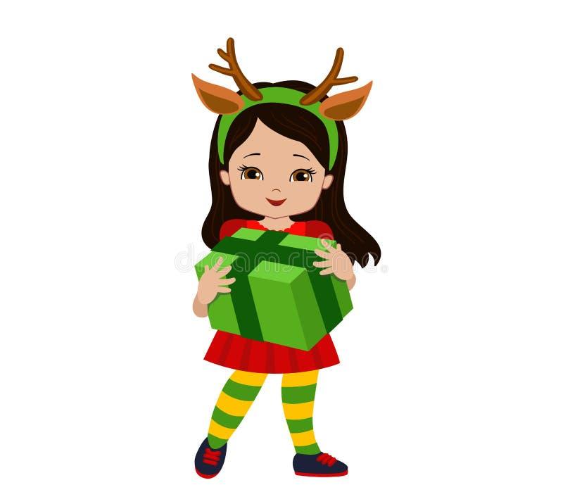 A menina do Natal em um terno dos cervos está guardando um presente ilustração stock
