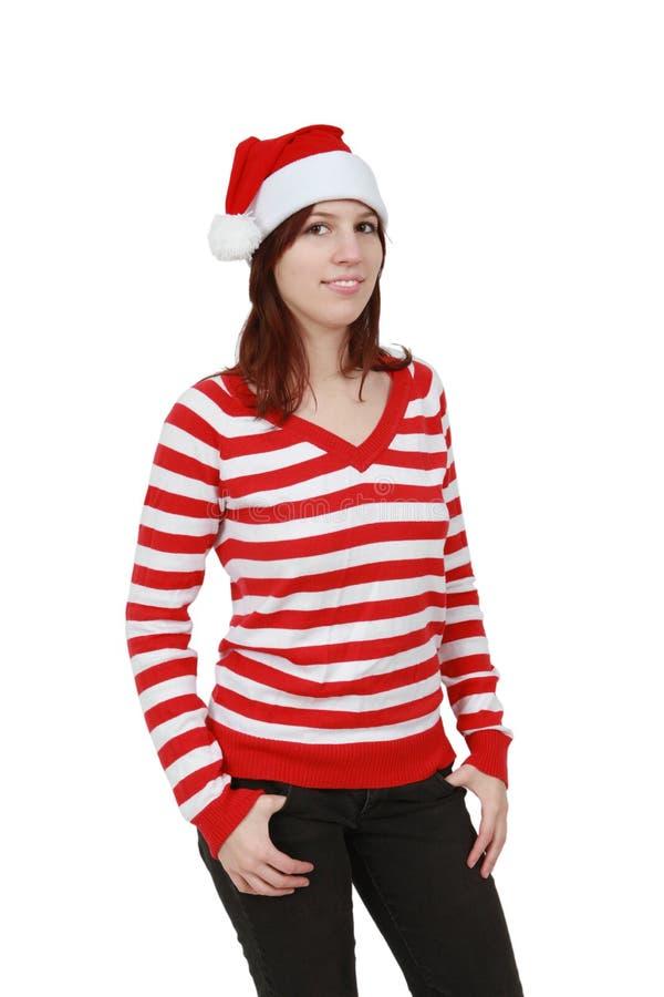 Menina do Natal que sorri - isolada imagem de stock