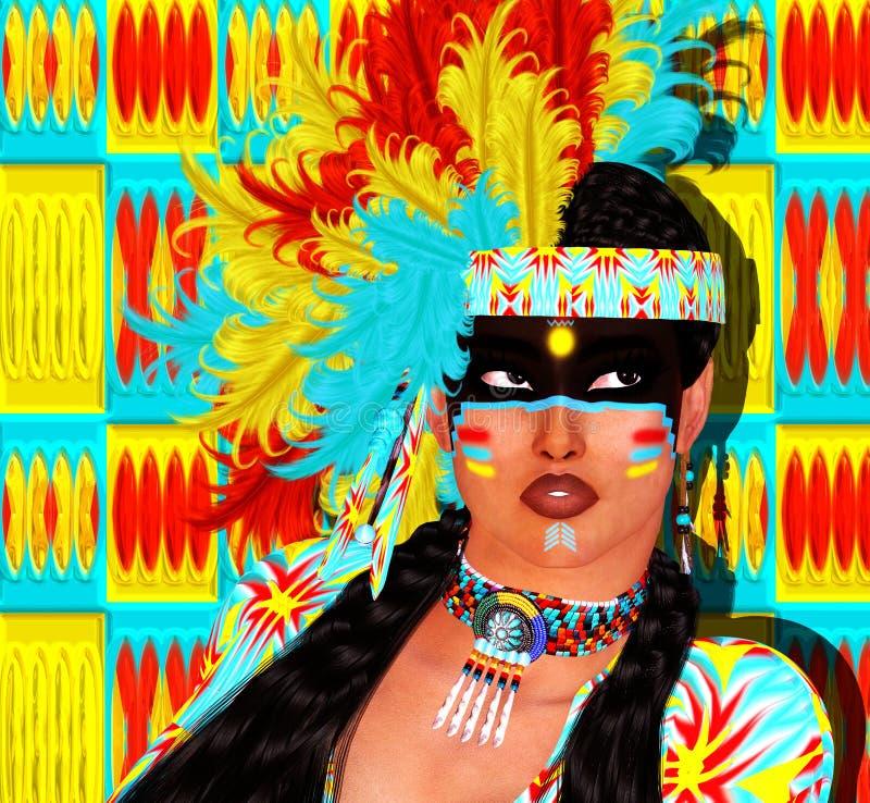 Menina do nativo americano com a mantilha colorida da pena e fundo abstrato ilustração do vetor