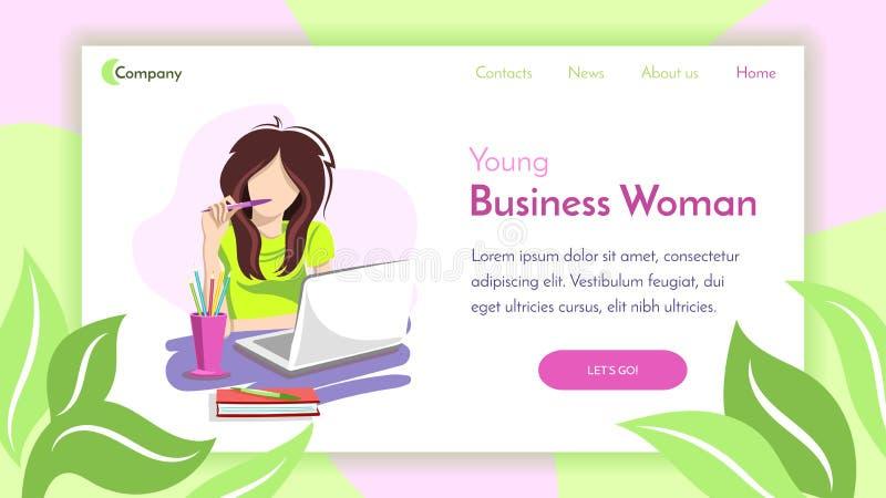 Menina do negócio com Pen Landing ilustração stock