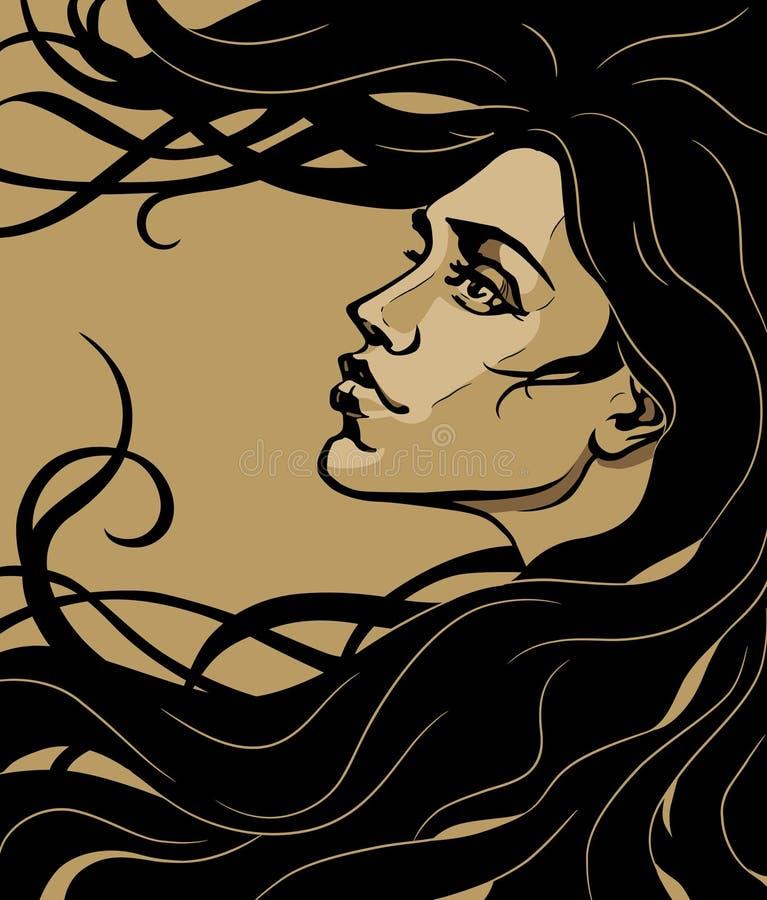 Menina do nouveau da arte ilustração do vetor