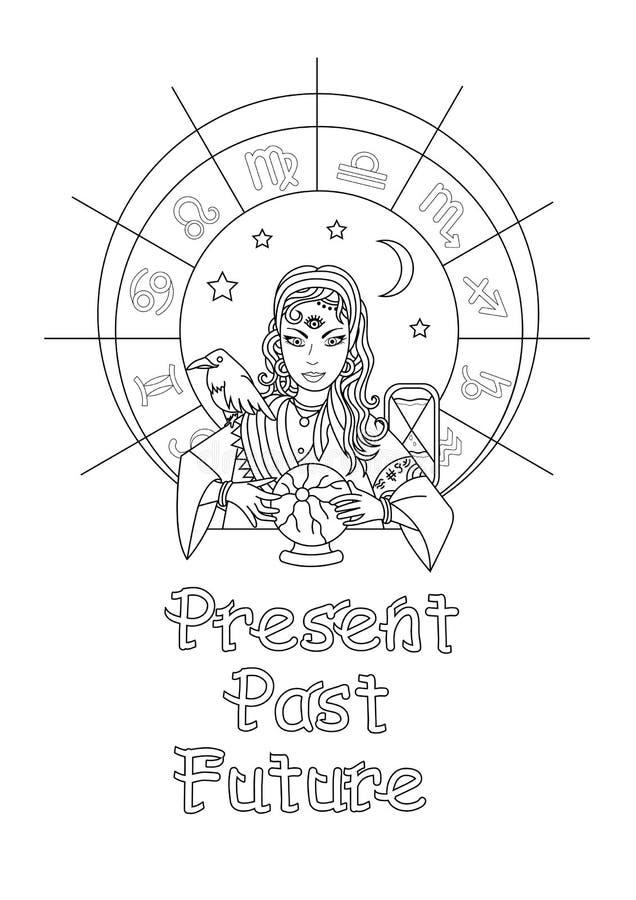A menina do oráculo prevê o futuro em uma bola mágica Pa da coloração ilustração royalty free