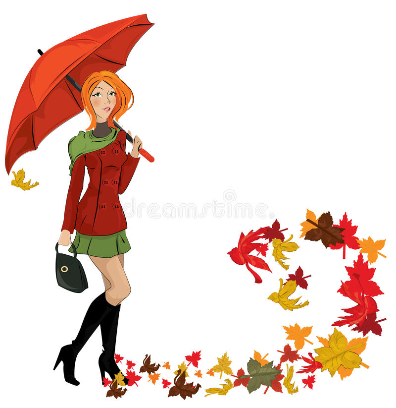 Menina do outono ilustração royalty free