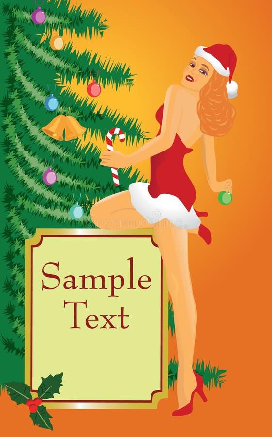 Menina do pino-acima do Natal ilustração do vetor