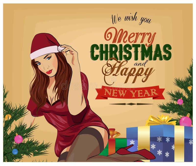 Menina do pino-acima do Natal no fundo branco Cartão do vintage Ilustração do vetor foto de stock royalty free