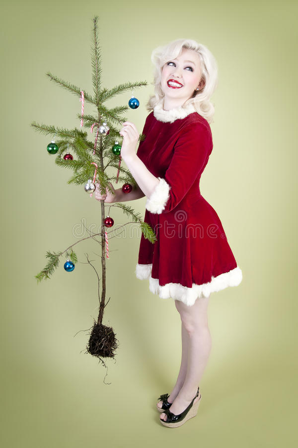 Menina do pinup do Natal imagens de stock royalty free
