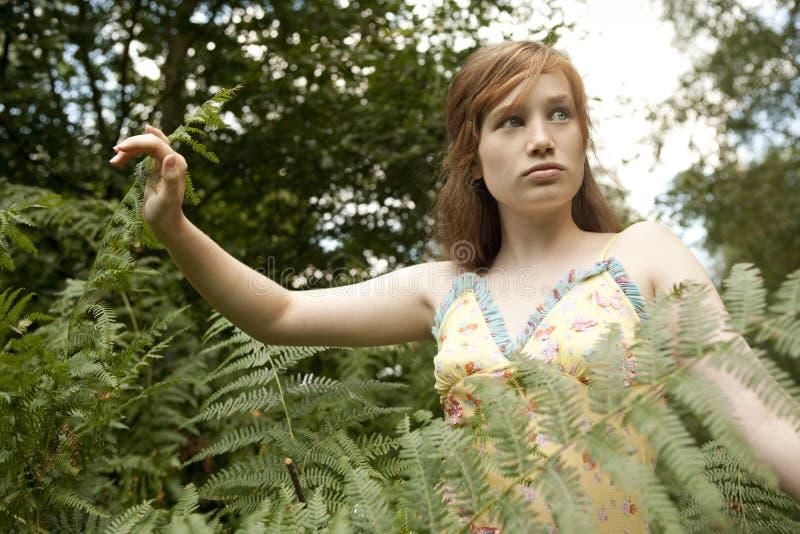 Menina do piquenique que anda através da floresta fotografia de stock