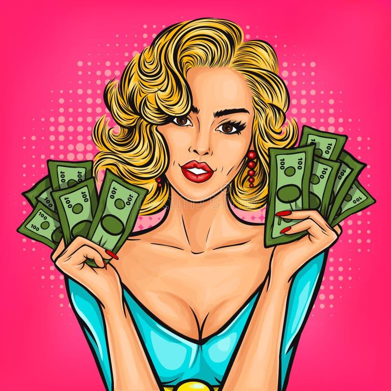 Menina do pop art do vetor com dinheiro ilustração royalty free