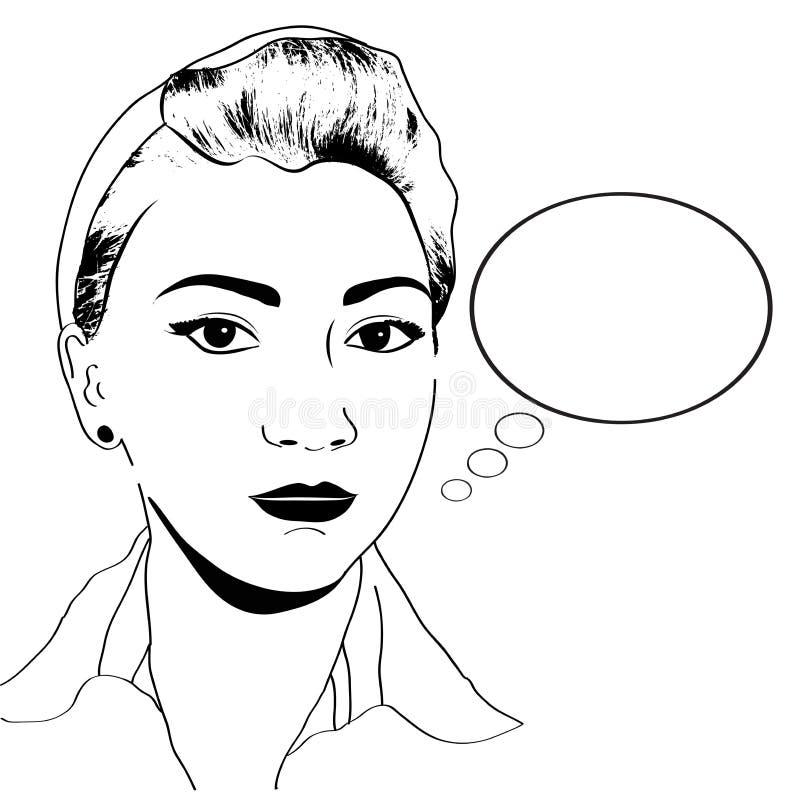 Menina do pop art do vintage ilustração stock
