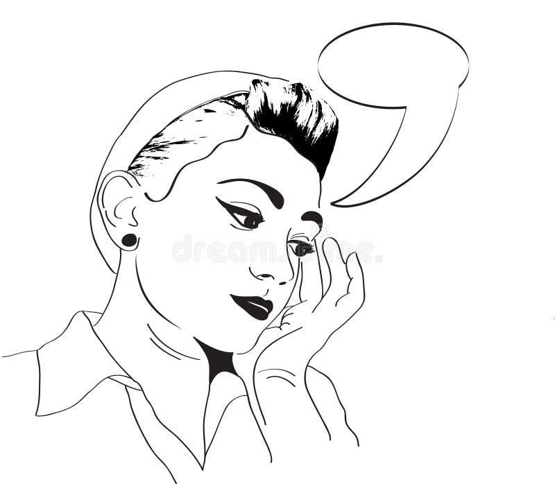 Menina do pop art do vintage ilustração royalty free