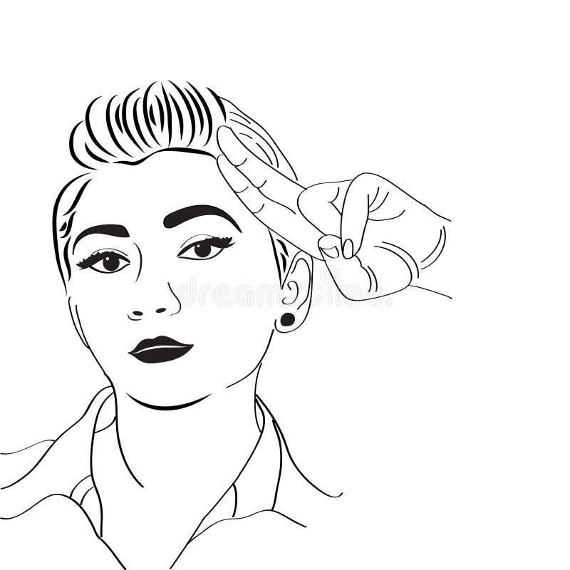 Menina do pop art do vintage ilustração do vetor