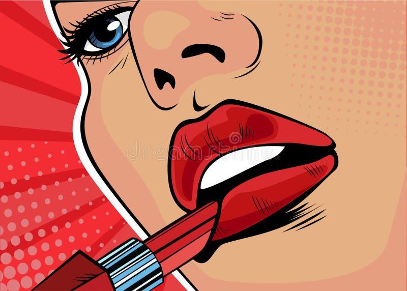 A menina do pop art pinta seus bordos com batom vermelho A beleza da cara, composição ilustração stock